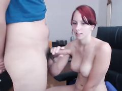 Blowjob by sweet-tittied redhead girl