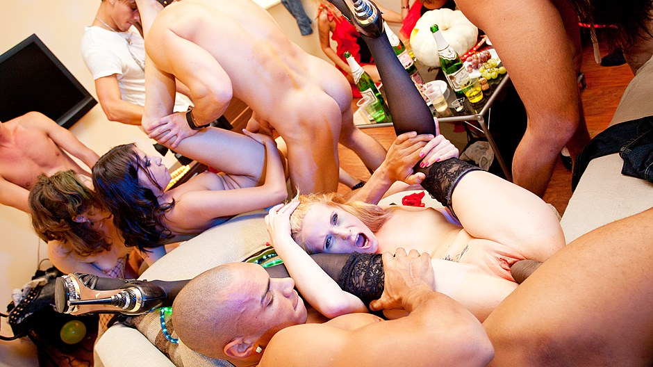 At the party. Skinny college girls are getting screwed at the party.