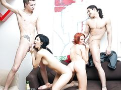 Awesome party sex scene with a nasty redhead