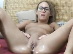 Glasses babe masturbating wet pussy on webcam