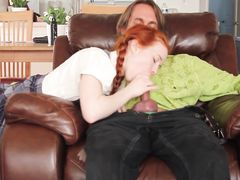 Redhead pigtailed schoolgirl gets fucked
