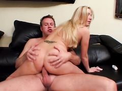 Blonde curvy butt banged on the couch