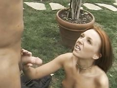 Redhead whore fingering and handjob on outdoor