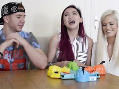 Three pornstars playing games hungry hippos