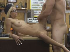 Very slim blond sucks off and nailed by pawnshop owner