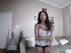 Ebony chick touching herself and she gets hammered